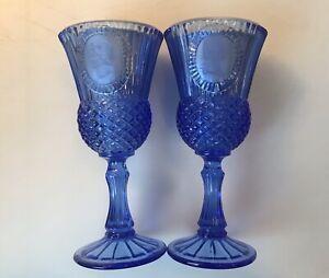"Avon 8"" Cobalt Blue George and Martha Washington Goblet Glass Set 1976 Vintage"