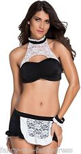 Ladies Sexy Role Play Bedroom French Maid Fancy Dress Costume Outfit Lingerie