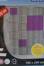 WENKO Duschvorhang Abstract 180x200cm mit Ringen anti bakteriell Vorhang Dusche