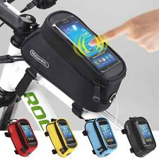 "Roswheel 5.5"" Bike Bicycle Cycling Frame Pannier Front Tube Phone Bag Waterproof"