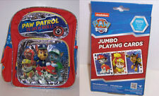 "Deluxe PAW PATROL 12"" Small Toddler BACKPACK Tote Bag & JUMBO PLAYING CARDS NEW!"