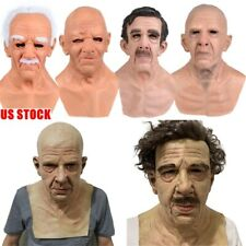 Latex Old Man Mask Male Disguise Costume Cosplay Halloween Party Realistic Props