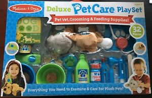 Melissa & Doug Deluxe Pet Care Play Set Ages 3+ (Pet Vet Grooming Feeding Supply