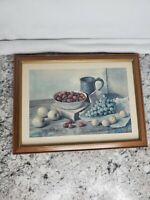Hank Bog Still Life Strawberries and Cup  Print in Medium Brown Frame VTG 1960