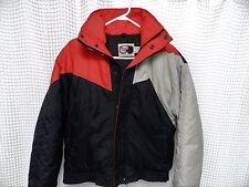 vtg 80s Ski Jacket Alpine Ski tri color black red gray Mens S/M geo retro parka