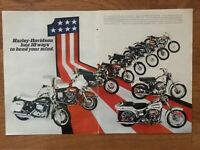 1971 HARLEY-DAVIDSON 2-Page Print Ad ~ 10 Ways & Models to Bend Your Mind
