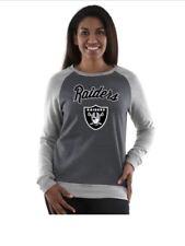 Oakland Raiders Womens Sweatshirt Pullover Round Neck Gray Long Sleeves  Size M