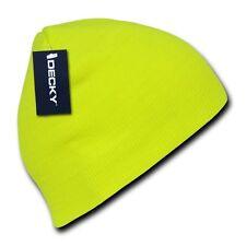 Neon Yellow Knit Short Beanie Hat Skull Snowboard Winter Warm Ski Hats Beanies