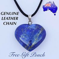 Lapis Lazuli Natural Stone Love Heart Pendant Genuine Leather Chain Necklace New