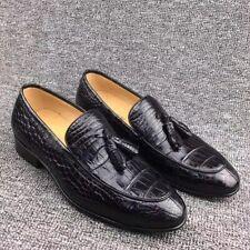 Men's Shoes Genuine Crocodile Alligator Skin Leather Handmade Black US Size 10