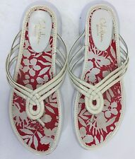Cole Haan Womens 7.5 B White Red Floral Flip Flops Sandals G Series