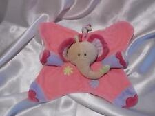 Doudou éléphant rose, broderies fleurs, Nattou