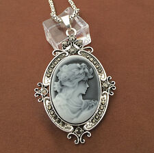 Antique Silver Victorian Grey Cameo Crystal Pendant Sweater Necklace