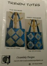 Trendy Totes Sewing Pattern five squares raggy squares Oceanlake Designs New