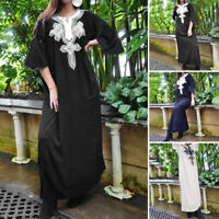 Women Plus Size Bell Sleeve Ethnic Printed Dresses Casual V Neck Long Maxi Dress