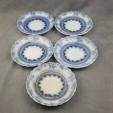 Antique Wood & Son Florence Royal Semi-Porcelain Flow Blue Saucer Dish Plate (5)