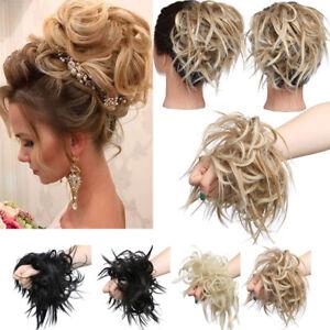 100% Echt Haarteil Haarknoten Haargummi Hochsteckfrisuren unordentlich Dutt DE