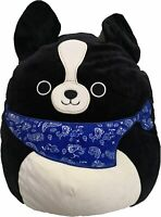 "Squishmallow Kellytoy 8"" Tommy The Black Dog with Blue Bandana Plush Toy"
