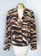 NWT Anne Klein Brown Black Camouflage Stretchy Knit One Button Blazer Jacket 16