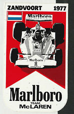 ORIGINAL MARLBORO TEAM McLAREN ZANDVOORT GP 1977 PERIOD RACE STICKER AUFKLEBER