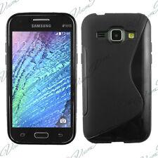 Housse Etui Coque TPU Silicone gel Motif S NOIR pour Samsung Galaxy J1/ J1 4G