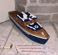 "Mint Vintage Wooden Fishing Clam Boat 21"" Wood Ship Ship Vessel with Net & Poles"