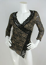 Ann Ferriday Sz O/S Small Blouse Top Lace Beaded Sequin Trim Faux Wrap EUC