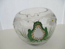 Glass Ashtray with Frog and Daisy Beside him