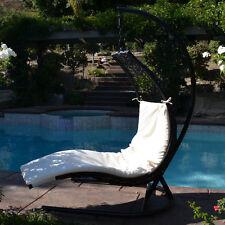 Black / Khaki Enclave Lounge Swing Bed Chair Weaved Wicker Rattan Hammock