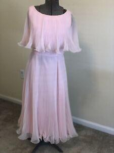 Vtg 70s Pink Chiffon Dress Sheer Pleated Avant Garde Ruffle Cocktail Party Maxi