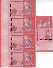 MALAYSIA 10 Ringgit x 5 Unc Cond (ND2012) Consecutive numbers BARGAIN!