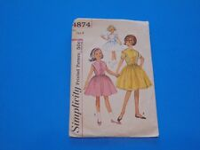 VTG 1950s Sewing Pattern Girls Party Communion Dress Size 8 Simplicity 4874