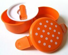 "E256 Polka Dot 2 Tier with Fork Circle Bento 4 x 3.7"" Kids Lunch Box Case Orange"
