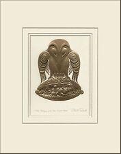 Haida artist BILL REID Embossed GOLD RAVEN & the 1st MEN matted art print