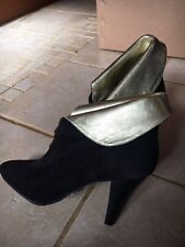 New, Black Suede Leather Ankle Boots. Gold Turn Down. Size 5. Shelley brand.