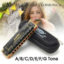 Blues Harmonica 10 Holes Key of A-G Musical Instrument Stainless Steel +Box