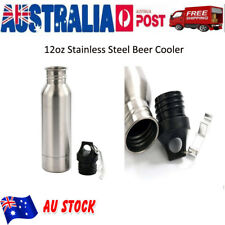 Beer Cooler Keeper Insulator Bottle Stainless Steel Opener Holder Silver