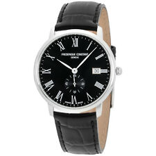Frederique Constant Men's Slimline Black Dial Leather Band Watch FC245BR5S6