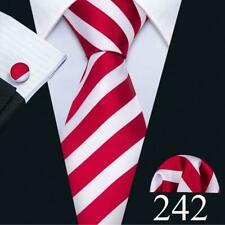 UK Classic Mens Tie Silk Red Burgundy Black White Solid Paisley Striped Necktie