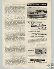 1963 PAPER AD Drift R Cruz Houseboat Clipper Craft Motor Boat Boats