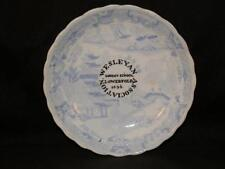 VINTAGE WESLEYAN SUNDAY SCHOOL LOWERFOLD 1856 BLUE & WHITE WILLOW PATTERN PLATE