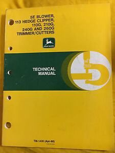 John Deere TM-1430 Technical Manual for Blowers, Clippers, Trimmers, & Cutters