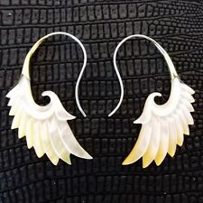 Angel Wings .925 Sterling Silver Hook Carved Shell Tribal Earrings Boho Jewelry