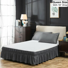"18"" Drop Bed Skirt Dust Ruffle Easy Fit Wrap Around Bed Queen Polyester Gray Us"