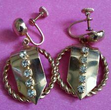 Vintage rhinestone #Earrings GoldTone dangle drop screw back #jewelry #Fashion