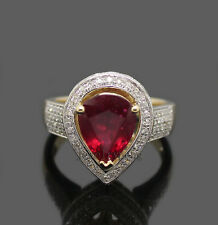 Solid 14kt Rose Gold Natural 4.42Ct Diamond Wedding Pear cut Blood Red Ruby Ring