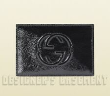 GUCCI black Patent Leather SOHO Interlocking G Snap Card Case NIB Authentic $195
