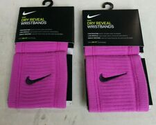 2 Pair NIKE Dri-FIT Reveal Womens Pink Singlewide Wristbands