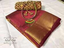 Maroon Classy Silk saree For This Summer WITH JECARD BLOUSE WITH NEKLESS