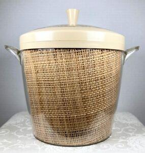 Lucite Ice Bucket Tiki Ware Raffiaware Tan Burlap Insulated Thermalware Vintage